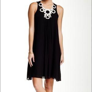 Max Studio White Crochet Flower Black Shift Dress